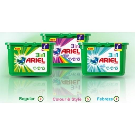 Ariel kapsulas 3in1 , 16 mazgāšanas reizēm. (Iespējami dažādi tilpumi)